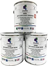 Coloredepoxies 10025 White Epoxy Resin Coating Made with Beautiful and Vibrant Pigments, 100% solids, For Garage Floors, Basements, Concrete and Plywood. 3 Gallon Kit