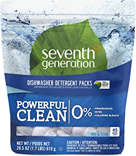 Seventh Generation Fragrance Free Dishwasher Detergent Packs, 45 count