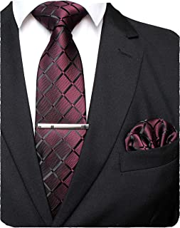 Solid Color Mens Plaid Tie and Pocket Square with Tie Clip Sets