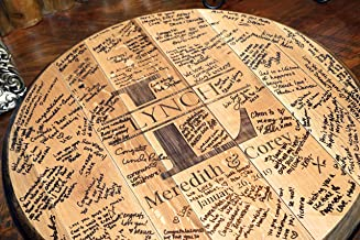 product image for WhiskeyMade Bourbon Barrel Wedding Guest book Alternative - Solid Wood Made from a REAL Bourbon Barrel