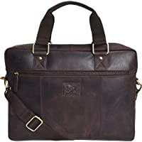 Estalon Leather Laptop Messenger Bag for Men and Women Brown Crazy Horse (15