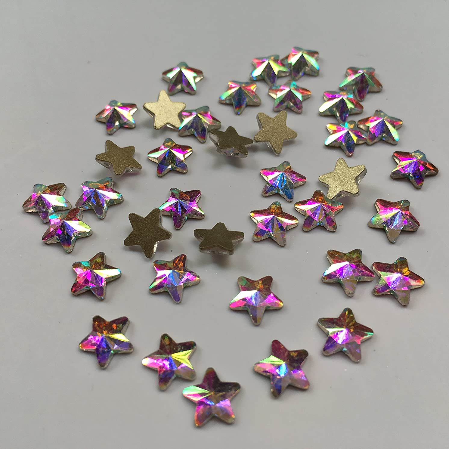 MIOBLET 30pcs Crystal AB 3D Nail Art Rhinestones Gems Flatback Stones DIY Decorations Manicure Diamond Jewelry For Nails Accessories (6x6mm Crystal AB Star)