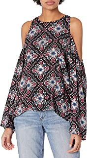 lucca Couture cold-shoulder مطبوعة bell-sleeve للسيدات