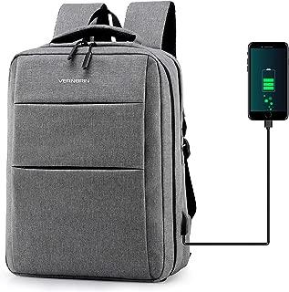 Laptop Backpack, 15.6 Laptop Backpack with USB Charging Port Waterproof Computer Bag, Slim Travel Backpack for Women Men School Business (GREY)