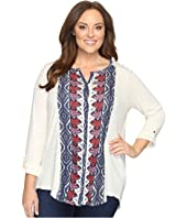 Lucky Brand - Plus Size Placed Print Top