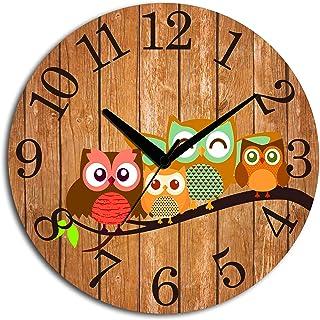 Studio Shubham Vintage Styleowl Wooden Wall Clock (29 cm x 29 cm x 3 cm, Brown)