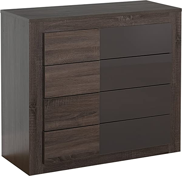 Target Marketing Systems Two Toned Eden Drawer Chest With 4 Drawers Dark Sonoma Oak High Gloss Gray