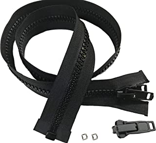 Lenzip #10 Separating Heavy Duty Zipper for Canvas, Cut to Length with Double Plastic Locking Zipper Pull, Includes Stainless Steel Zipper Bottom Stop and Extra Zipper Slider Replacement