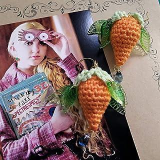 Harry Potter Luna Lovegood Theme Pendiente de ciruela dirigible de ganchillo hecho a mano en ganchos chapados en oro