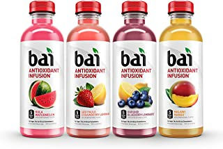 Bai Flavored Water, Oasis Variety Pack, Antioxidant Infused, 18 Fluid Ounce Bottles, 12 Count, 3 each of Burundi Blueberry...