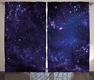 Ambesonne Galaxy Curtains, Celestial Stars in Night Sky Stardust in Clouds Fantasy World of Space, Living Room Bedroom Window Drapes 2 Panel Set, 108