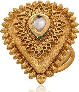 Created Kundan Meena Yellow Gold Plated Earring PG-109533 Ruby Silvestoo Jaipur Emerald
