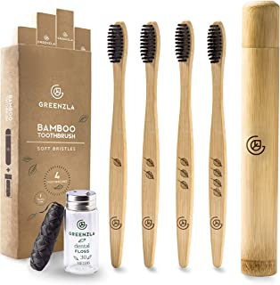 Greenzla Bamboo Toothbrush (4 Pack) with Travel Toothbrush Case & Charcoal Dental Floss | Natural Eco Friendly Toothbrushes for Adults | BPA Free, Soft Bristles & Biodegradable Wooden Toothbrush