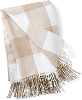 """Reasonable Stitch Striped Woven Brown 100% Cotton Tasselled Double Throw Blanket 90""""x100"""" Home Décor Home & Garden"""