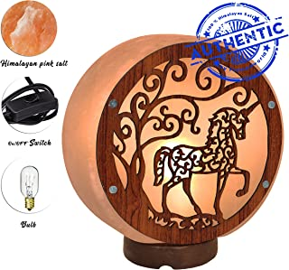 Unique Himalayan Real Unicorn Lamp - Genuine Wood Base with On and Off Switch/Dimmer - 5-7 Lbs - Bulb with 6-8 Inches UL Electric Corded (Unicorn Lamp)