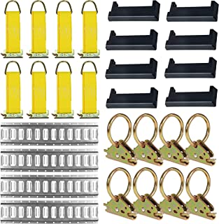 E-Track Tie-Down KIT! 4 Galvanized 5' Horizontal E Track Rails, 8 End Caps, 8 Rope Tie-Offs, 8 O Rings | Trailer Accessories, Cargo Securement