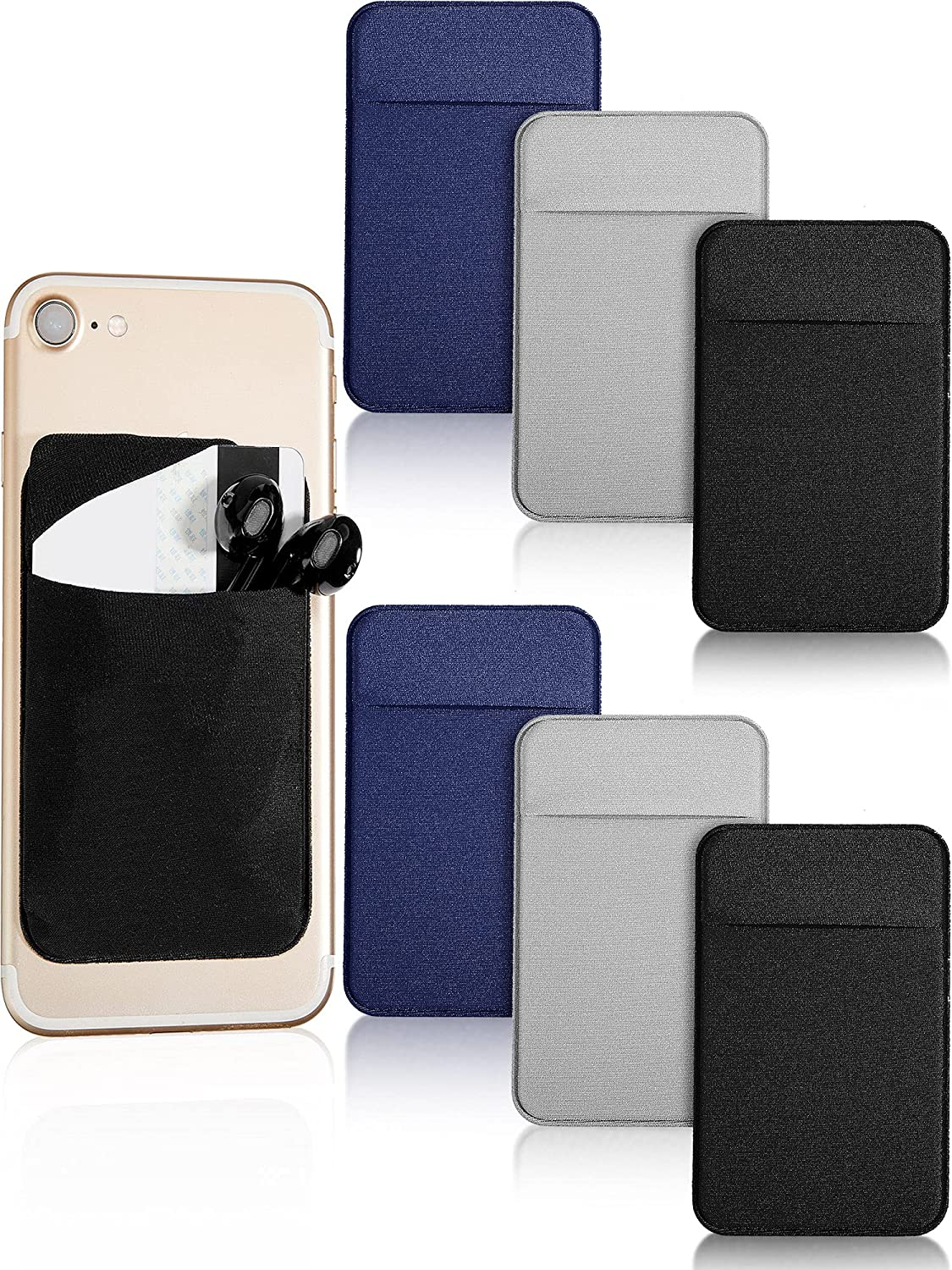 6 Pieces Cell Phone Card Holder Phone Card Wallet Phone Pouch Pocket Wallet Phone Pouch Pocket Sticker Stretch Card Sleeve Phone Card Case Sticker for Back of Most Smartphone (Black, Dark Blue, Gray)