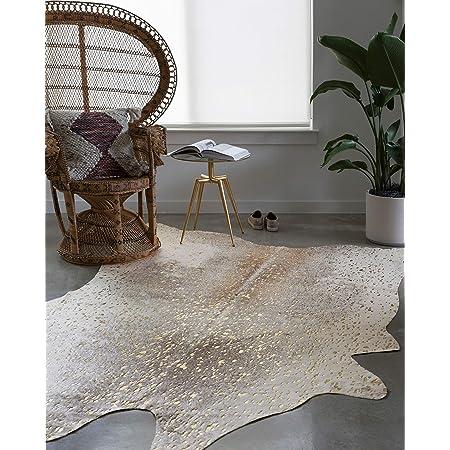 Nuloom Iraida Faux Cowhide Shaped Rug 5 X 6 7 Off White Furniture Decor