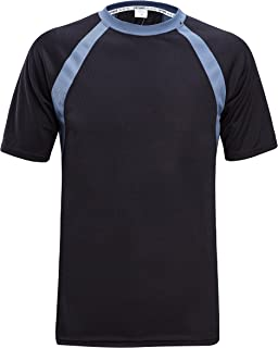 ZITY Mens Short Sleeves TEE Polyester Quick-Drying Breathable Training T-Shirts Black