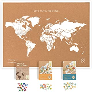 Framed World Map Kit Includes: Cork Push Pin Map, World Flags, Monument and Food Stickers, for Travelers