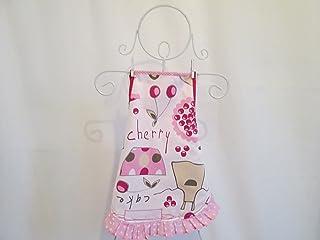 Tablier fille à froufrou en tissu écru avec des ustensiles de cuisine 6/8 ans