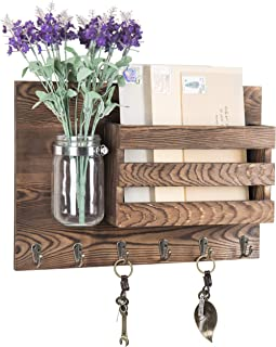 MyGift Wall-Mounted Burnt Wood Mail Holder Organizer with 6 Key Hooks & Mason Jar