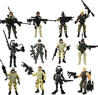 HAPTIME Soldier Figure Toy Army Men with Weapon / Military Action Figures Special Force Playset, Set of 12 (Each 3.75 inch Tall)