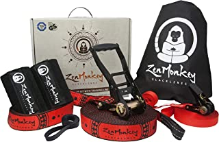 ZenMonkey Slackline Kit with Training Line, Arm Trainer, Tree Protectors, Cloth Carry Bag and Instructions, 60 Foot - Easy Setup for the Family, Kids and Adults