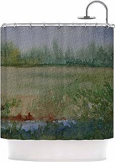 Kess InHouse Cyndi Steen Land That I Love Green Blue, Cortina de regadera de 69 x 70 Pulgadas