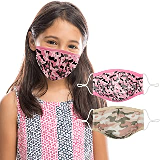 Face Mask for Kids (2 Pack) Ages 6-14 | Pink Camo Girls Face Mask Design | 3 Layers, Washable, Reusable, Adjustable Nose W...