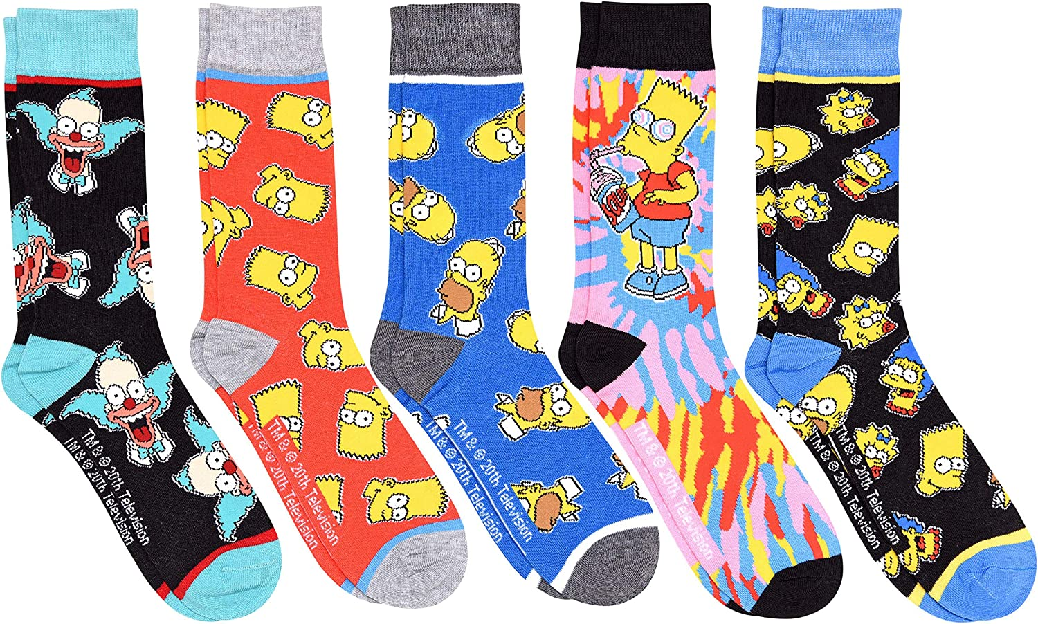 Hyp The Simpsons All Over Patterns Max 86% OFF Cheap SALE Start Pair Pack Men's Crew Socks 5
