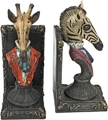 Design Toscano QS92460 Serengeti Soiree Giraffe and Zebra Book End Statues, 8 Inch, Set of Two, Polyresin, Full Color