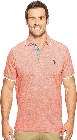 Short Sleeve Solid Classic Fit Slub Polo Shirt