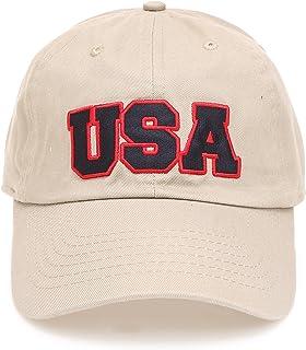 2ac1ebaa7e18b MIRMARU USA American Flag Embroidered 100% Cotton Adjustable Strap Baseball Cap  Hat