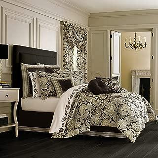 Five Queens Court Maddock Jacobean 4 Piece Luxury Comforter Set, Black, Cal King 110x96