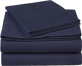 Pinzon 300 Thread Count Organic Cotton Bed Sheet Set - Twin XL, Navy Blue