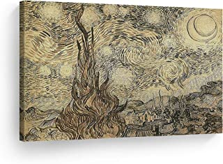 Smile Art Design Vincent Van Gogh Cypresses in Starry Night, a Reed Pen Drawing 1889 Canvas Print Decorative Art Wall Decor Artwork Modern Art - Ready to Hang -%100 Handmade in The USA - 24x36