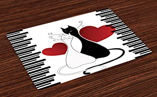Ambesonne Cats Place Mats Set of 4, Romantic Kittens Pets Couple 2 Tails Hearts and Black Stripes Animals in Love, Washable Fabric Placemats for Dining Room Kitchen Table Decor, White Black