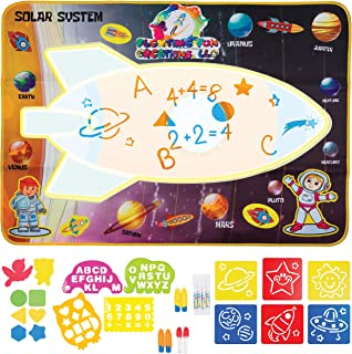 Space Rocket Science Theme Magic doodle Aqua Mat Large Square Water Drawing Play Mat Kinesthetic Learning Toys for ages 3,...