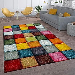 Tapis De Salon À Poils Ras Design Carreaux Coloré Carré Multicolore Coloré, Dimension:160x230 cm