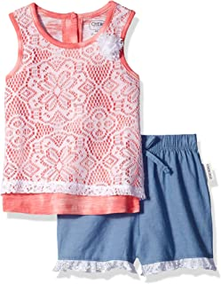 Cherokee Girls' Toddler Jersey Tank with Lace Overlay and Chambray Short Set