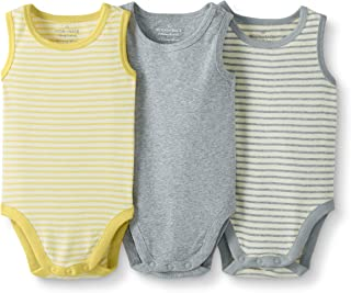 Moon and Back by Hanna Andersson Baby Boys' and Girls' 3-Pack Organic Cotton Sleeveless Bodysuit