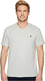 قميص رالف لورين رجالي برقبة على شكل حرف V كلاسيكي برقبة على شكل V وأكمام قصيرة رمادي (تايلور هيث)، مقاس صغير