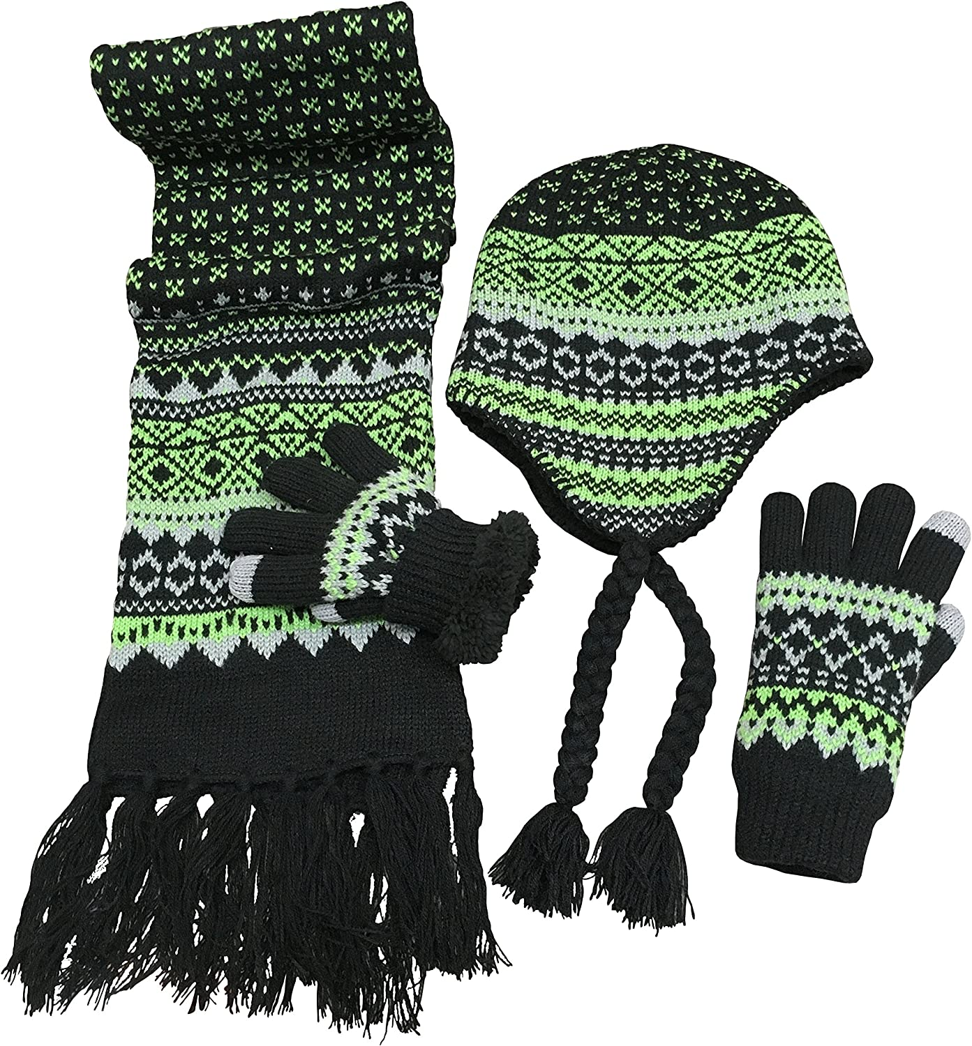 N'Ice Caps Big Boys Racer Striped Knitted Hat/Scarf/Glove Fleece Lined Set