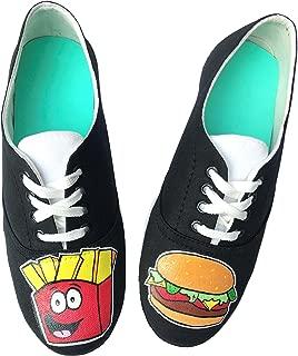 FUNKY N TRENDY Burger French Fries Black Handpainted Waterproof Casual Shoes
