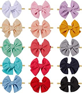 inSowni 15 Pack Big Large Solid Bow Super Stretchy Nylon Headbands Hair Accessories for Baby Girls Toddlers Newborns Infan...