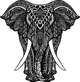 "EW Designs Black and White Tribal Pattern Elephant Drawing Vinyl Decal Bumper Sticker (4"" Tall)"