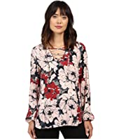 Karen Kane - Lace-Up Shirttail Top