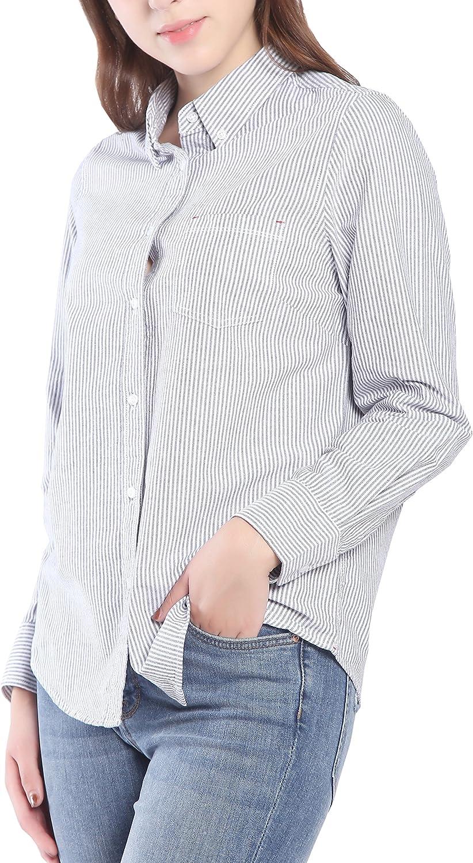 Seeksmile Women's Cotton Long Sleeve Button Down Shirt