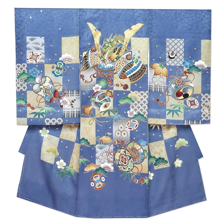 警察署スーツケース考案するお宮参り 着物 男の子 赤ちゃんのお祝い着 産着 初着 正絹 選べる色「兜に市松」IBU02